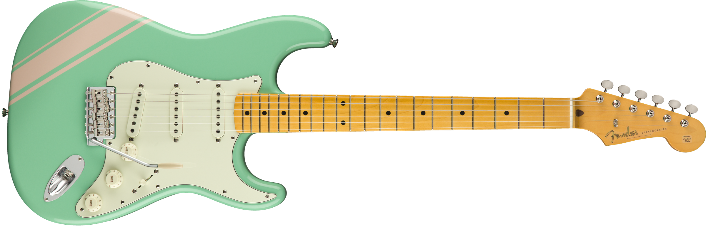 FSR Traditional 50s Strat, Maple Fingerboard, Surf Green with Shell Pink Stripes
