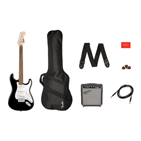 Stratocaster Pack, Laurel Fingerboard, Black, Gig Bag, 10G - 120V