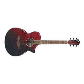 Ibanez AEWC32FM Acoustic Guitar, Red Sunset Fade