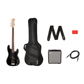 Affinity Series Precision Bass PJ Pack, Laurel Fingerboard, Black, Gig Bag, Rumble 15 - 120V