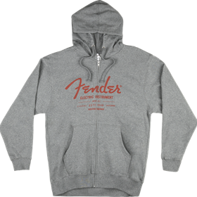 Fender Electric Instruments Men's Zip Hoodie, Gray, L