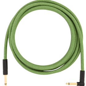 10' Angled Festival Instrument Cable, Pure Hemp, Green