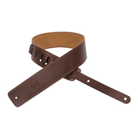"Levy's 2.5"" leather guitar strap with suede backing and decorative double edge stitch."