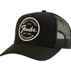 Fender® West Coast Trucker Hat, Black, One Size Fits Most