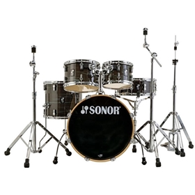 Sonor AQ1 Stage Set, Woodgrain Black (22, 10,12,16, 14 Snare)