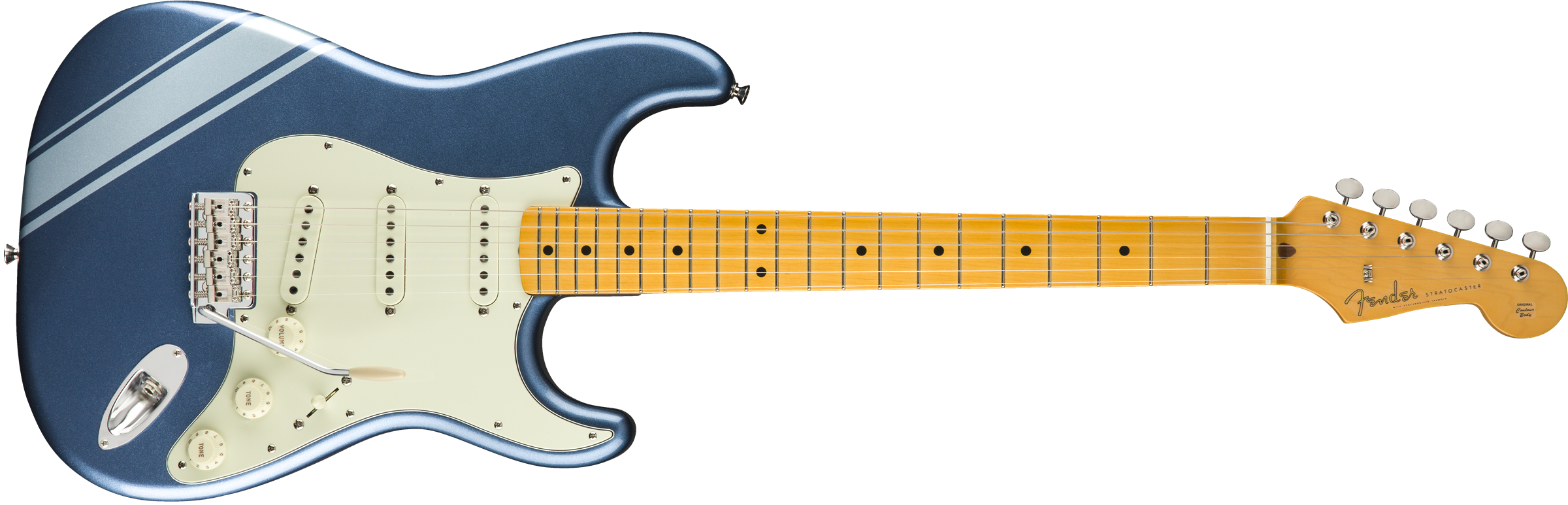 FSR Traditional 50s Strat, Maple Fingerboard, Lake Placid Blue with Ice Blue Metallic Stripes