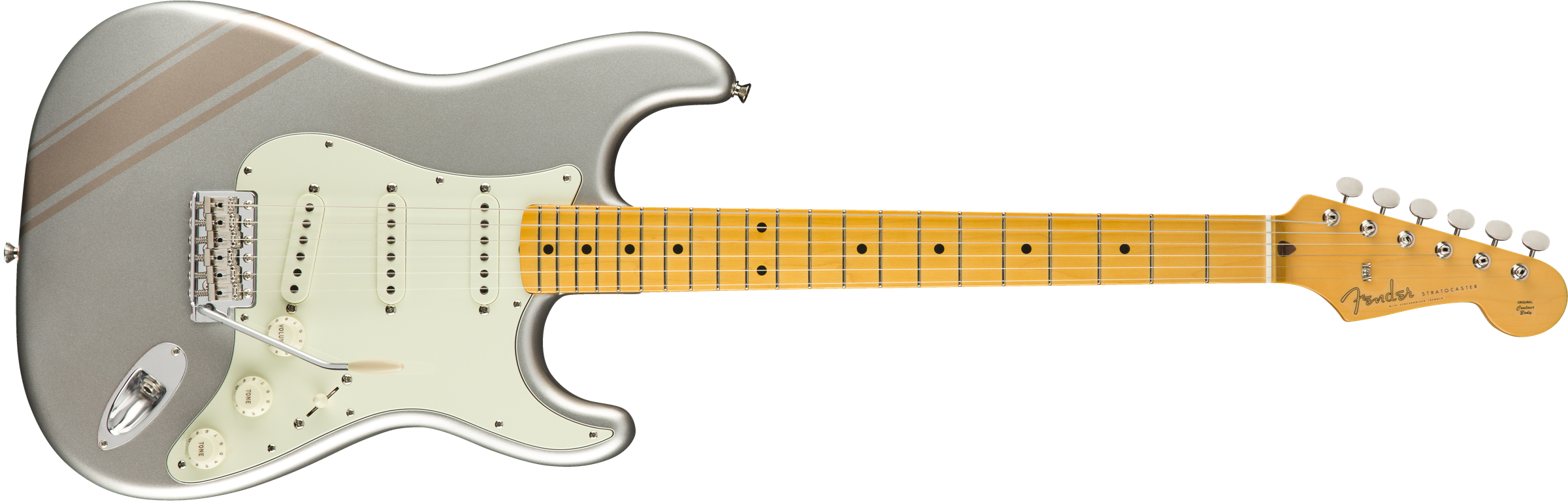 FSR Traditional 50s Strat, Maple Fingerboard, Inca Silver with Shoreline Gold Stripes