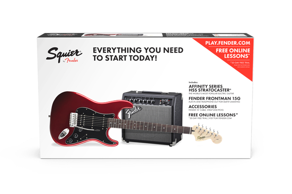 Affinity Series Stratocaster HSS Pack, Laurel Fingerboard, Candy Apple Red, 120V