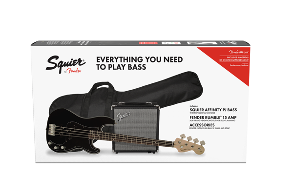 Affinity Series Precision Bass PJ Pack, Laurel Fingerboard, Black, Gig Bag, Rumble 15 - 240V AU