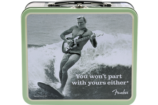 "Fender Lunchbox, ""You Won't Part With Yours Either"" with Strings, Winder, Picks and Electronic Tuner"