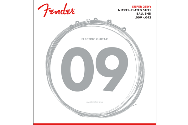 Super 250 Guitar Strings, Nickel Plated Steel, Ball End, 250L Gauges .009-.042, (6)