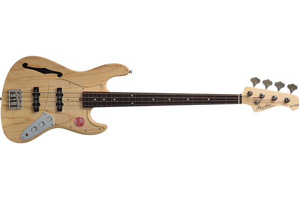 Bacchus Woodline Semi-Hollow Fretless Jazz Bass | Natural Oil Finish